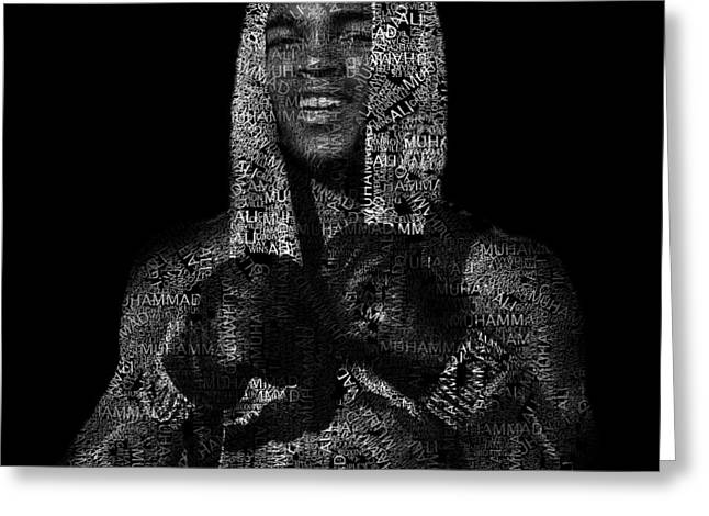 Muhammad Ali Or Cassius Clay Text Portrait - Typographic Face Poster Greeting Card by Jose Elias - Sofia Pereira