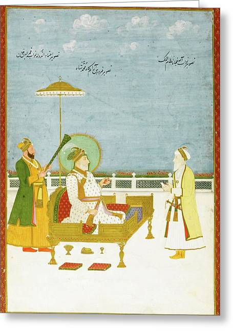 Muhammad Shah Enthroned With Nawab Greeting Card by Eastern Accent