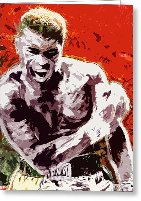 Muhammed Ali Boxing Champ Digital Paintng Greeting Card by David Haskett