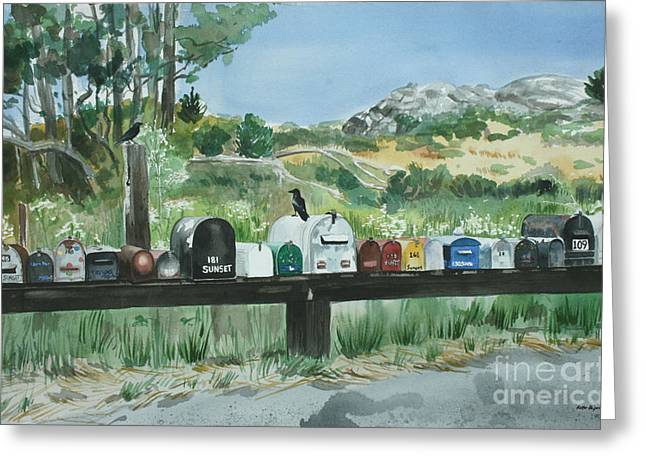 Muir Beach Mailboxes Greeting Card by Kate Peper