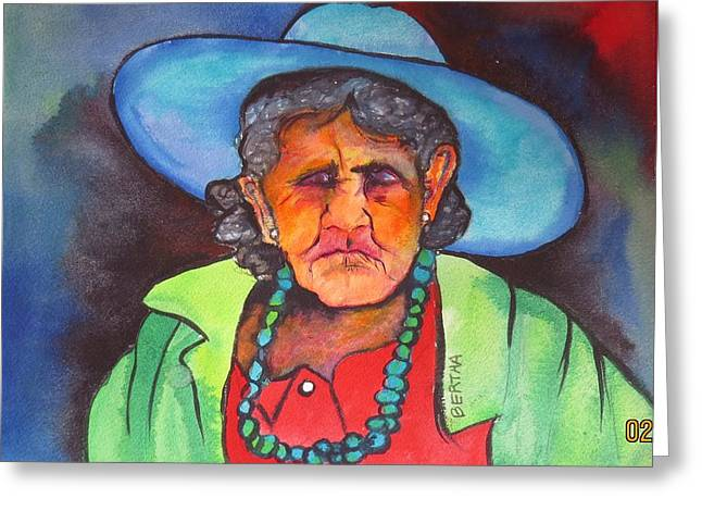 Greeting Card featuring the painting Mujer De Jocotepic  by Karen bertha Calderon