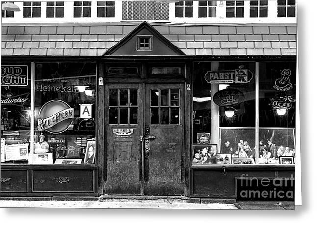 Greeting Card featuring the photograph Mulberry Street Bar Windows by John Rizzuto
