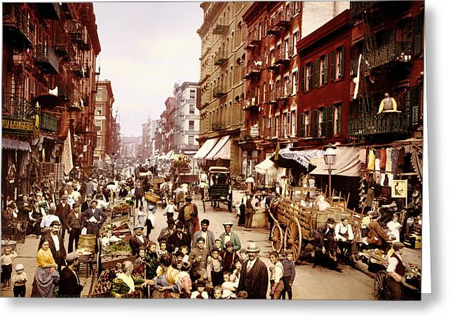 Mulberry Street In New York City - C1900 Greeting Card by Mountain Dreams