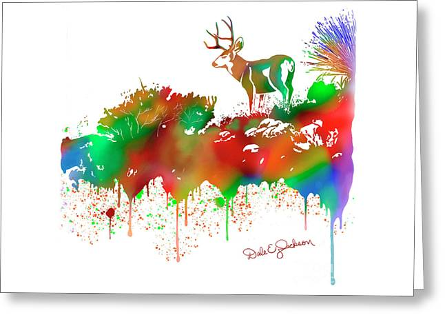 Mule Deer Buck Skyline Drip Pop Art II Greeting Card