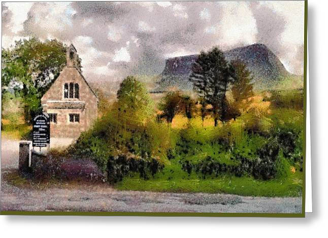 Mullaghnaneane Church And Ben Bulben Greeting Card
