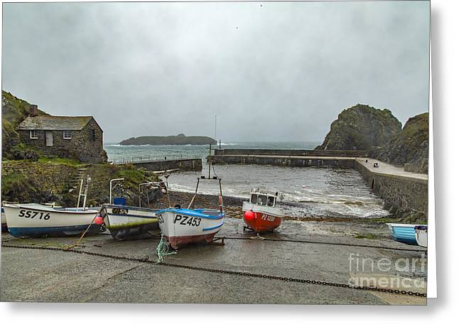 Greeting Card featuring the photograph Mullion Cove Harbour by Brian Roscorla