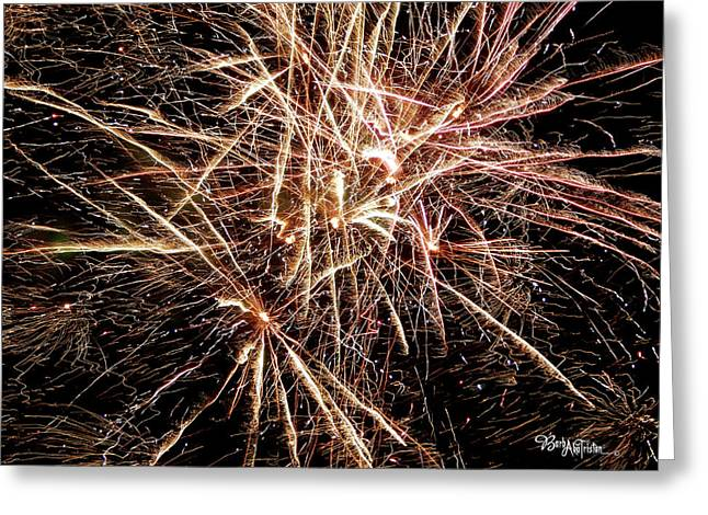 Greeting Card featuring the photograph Multi Blast Fireworks #0721 by Barbara Tristan