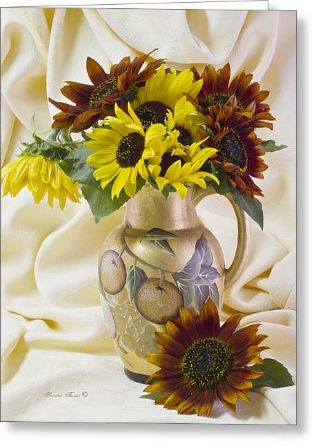 Multi Color Sunflowers Greeting Card by Sandra Foster