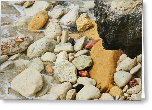 multi colored Beach rocks Greeting Card by Expressionistart studio Priscilla Batzell