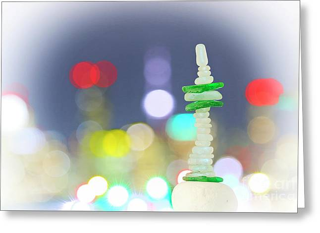 City Lights And Tower Greeting Card
