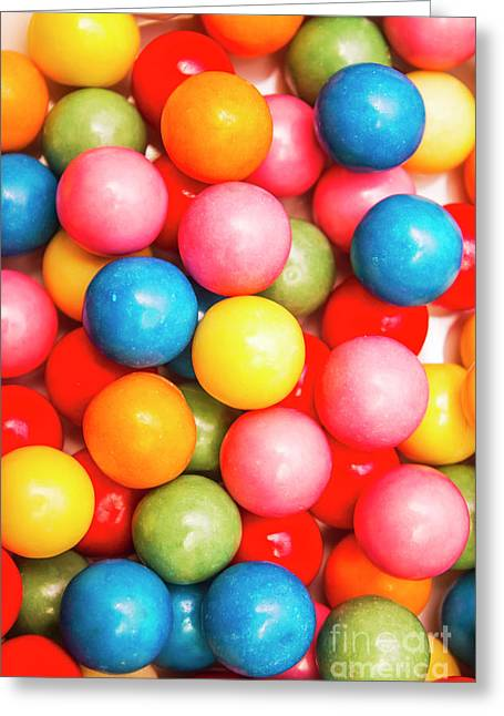 Multi Colored Gumballs. Sweets Background Greeting Card
