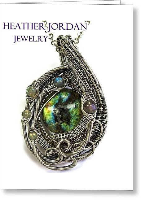 Multi-colored Labradorite Wire-wrapped Pendant In Antiqued Sterling Silver Labpss1 Greeting Card by Heather Jordan
