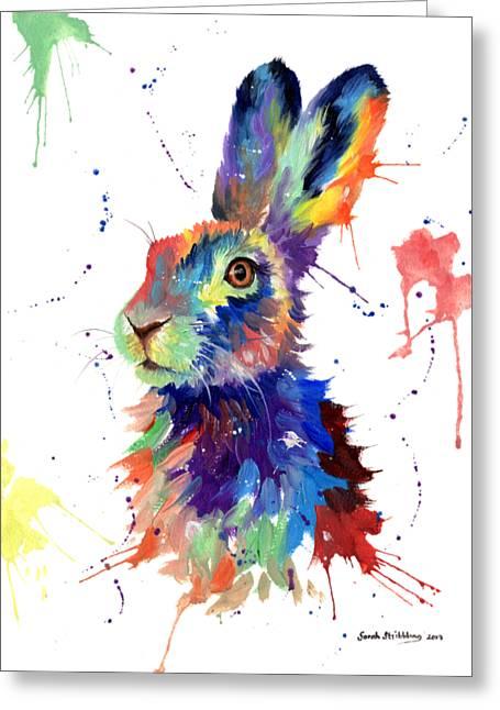 Multi Colour Hare Greeting Card