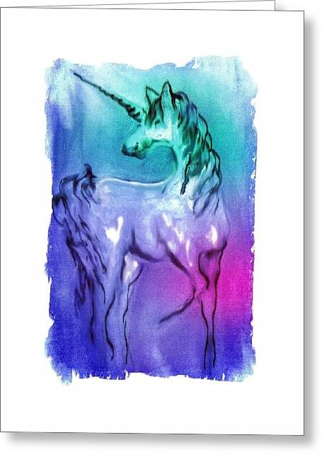 Multi Coloured Unicorn Greeting Card by Carol Rowland