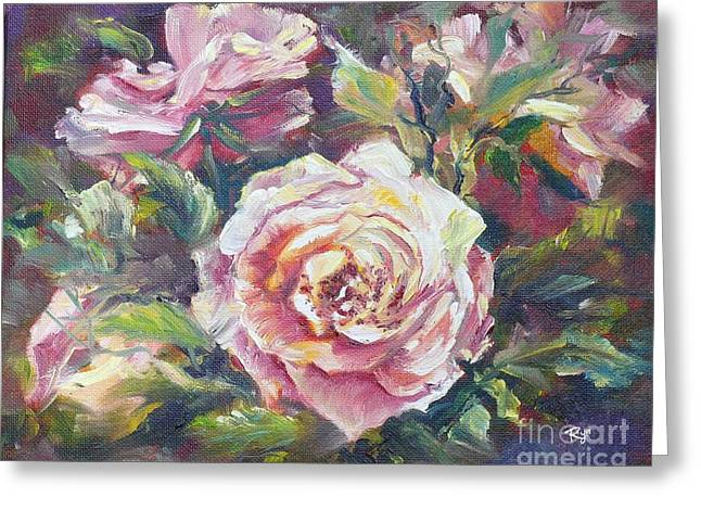 Multi-hue And Petal Rose. Greeting Card