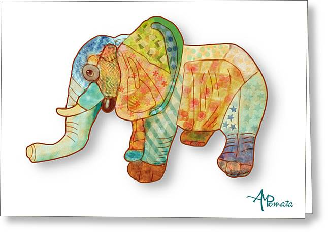Multicolor Elephant Greeting Card by Angeles M Pomata