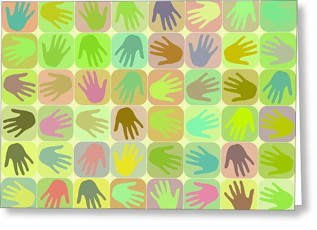 Multicolored Hands Pattern Greeting Card by Gaspar Avila