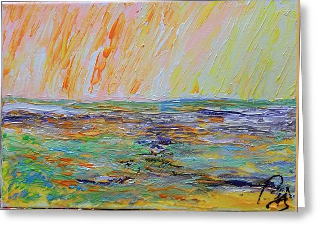 Multicolored Landscape Iv Greeting Card by Bachmors Artist