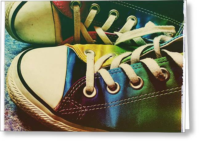 Multicolored Sneakers 9 Greeting Card by Mo Barton