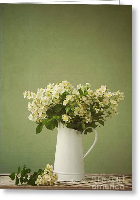 Multiflora Rose In A Rustic Vase Greeting Card by Diane Diederich