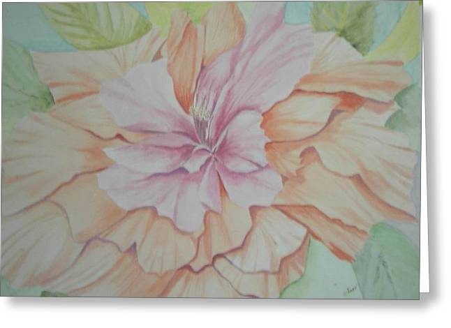 Greeting Card featuring the painting Multipetaled Pink Coral Hibiscus by Hilda and Jose Garrancho