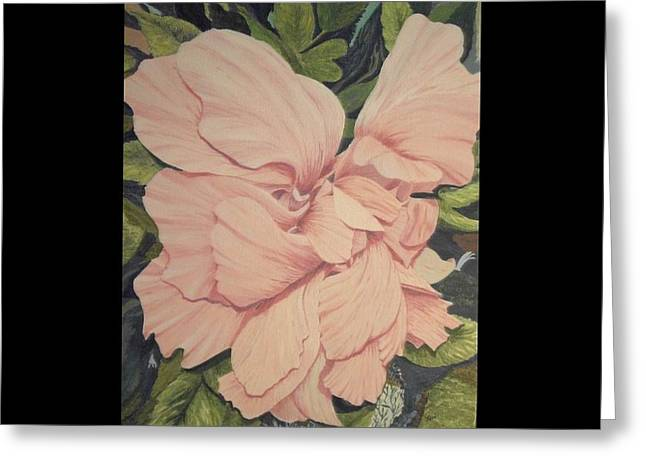Greeting Card featuring the painting Multipetaled Pink Hibiscus by Hilda and Jose Garrancho