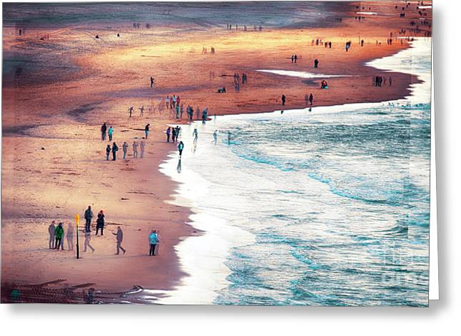 Greeting Card featuring the photograph multiple exposure of people on North sea beach  by Ariadna De Raadt