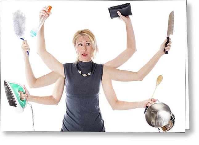Multitasking Housewife Greeting Card