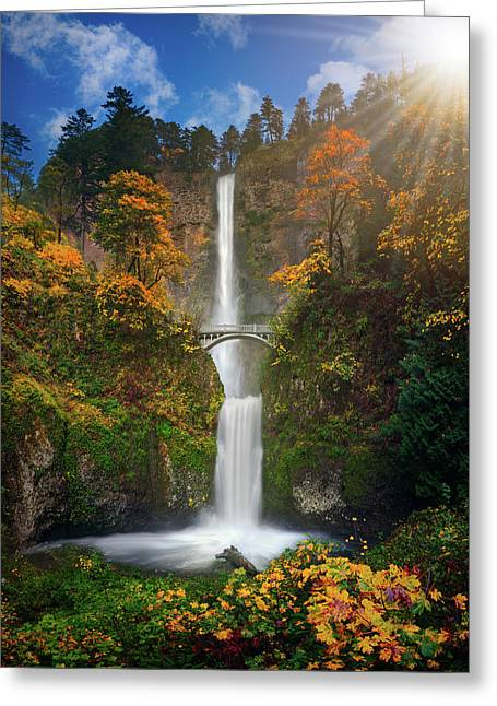 Multnomah Falls In Autumn Colors -panorama Greeting Card