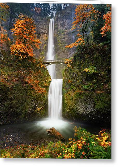 Multnomah Falls In Autumn Colors Greeting Card