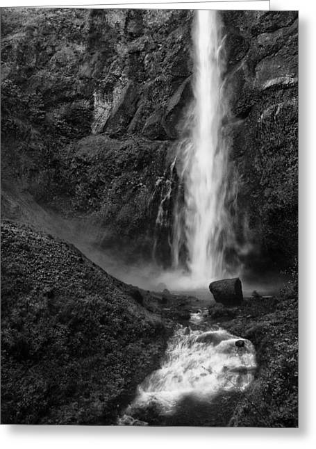 Multnomah Falls In Black And White Greeting Card