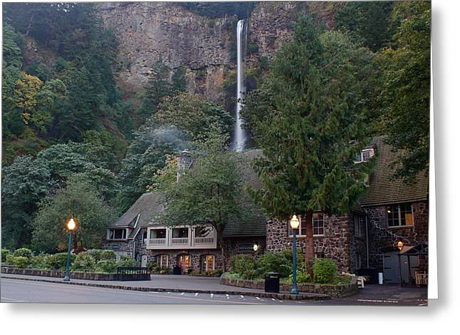 Multnomah Falls Lodge Morning Greeting Card