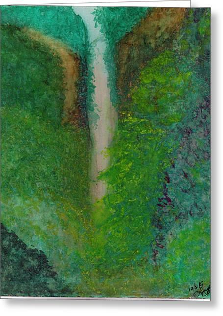 Multnomah Falls Greeting Card by Lynnette Jones