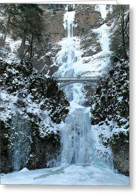 Multnomah In Ice Greeting Card by Jeff Swan