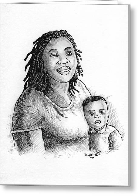 Mum And Baby Greeting Card by Anthony Mwangi