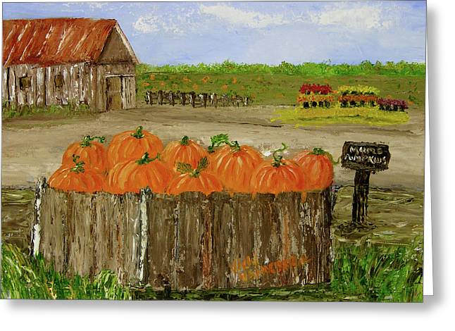 Mum And Pumpkin Harvest Greeting Card