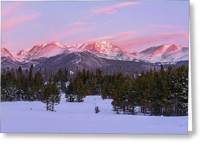 Mummy Range Winter Sunrise Greeting Card by Aaron Spong