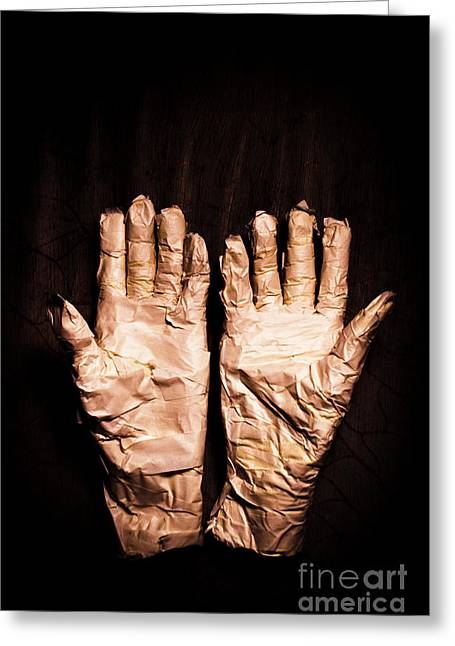 Mummy's Hands Over Dark Background Greeting Card by Jorgo Photography - Wall Art Gallery