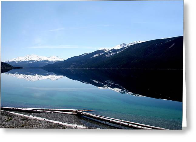 Muncho Lake Reflections Greeting Card by Dave Clark