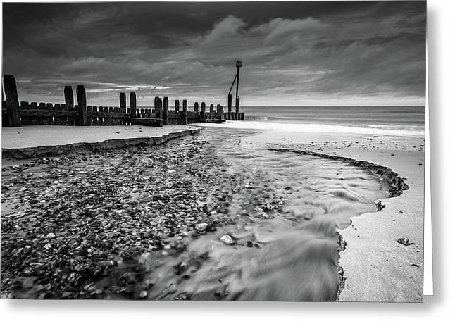 Mundesley Beach - Mono Greeting Card