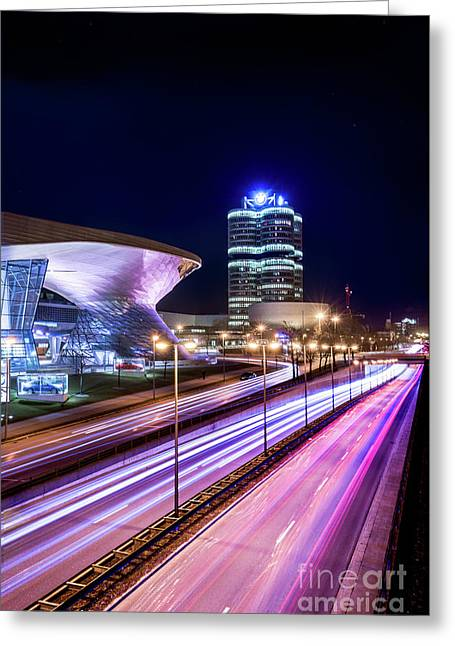 Greeting Card featuring the pyrography Munich - Bmw City At Night by Hannes Cmarits