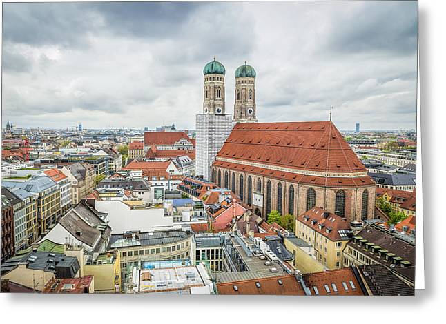 Munich Cityscape From City Hall Greeting Card by JJF Architects