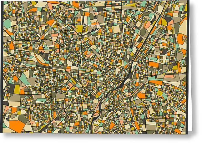 Munich Map Greeting Card by Jazzberry Blue