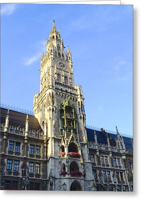 Greeting Card featuring the photograph Munich Marienplatz by Corinne Rhode