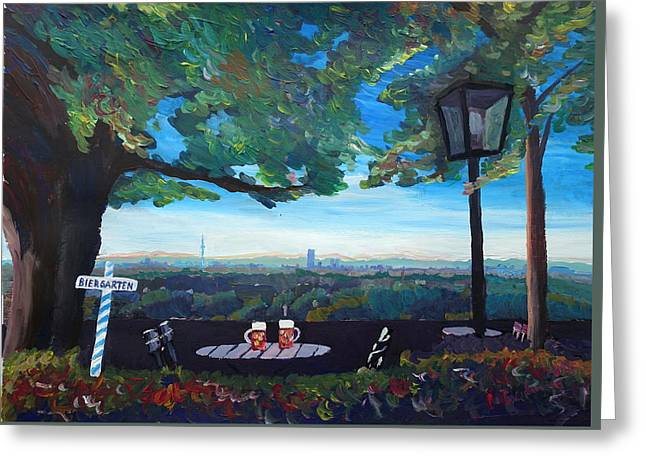 Munich Skyline View Beergarden With Alps Active Greeting Card by M Bleichner