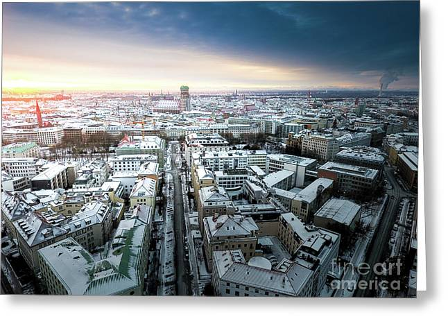 Greeting Card featuring the photograph Munich - Sunrise At A Winter Day by Hannes Cmarits