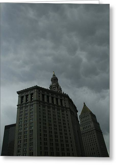 Municipal Building In Storm Greeting Card by Christopher Kirby