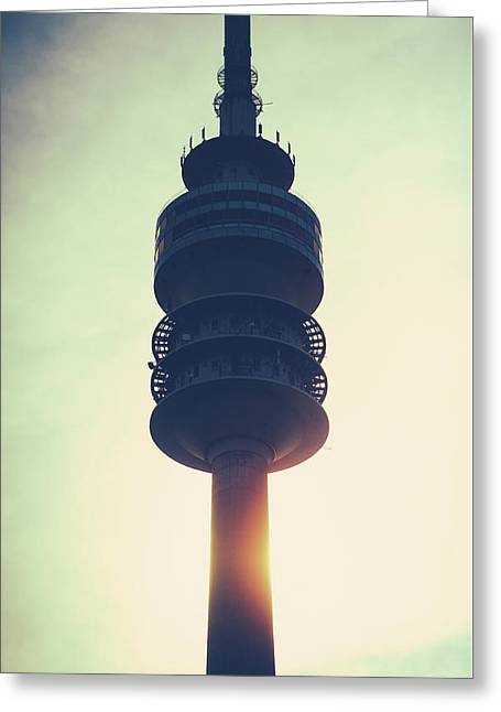 Munich Olympiaturm At Sunset Greeting Card by Mr Doomits