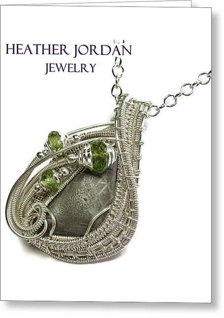 Muonionalusta Meteorite Slice Pendant In Sterling Silver With Peridot Imsss5 Greeting Card by Heather Jordan