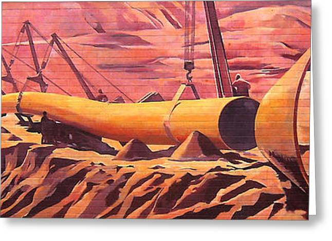 Greeting Card featuring the painting Mural 12x90 Feet Detail Pipeline by Tim  Heimdal
